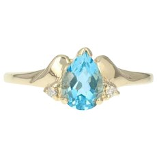 Blue Topaz & Diamond Ring - 10k Yellow Gold Pear Brilliant .92ctw