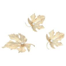 Diamond Maple Leaf Jewelry Set - 14k Gold Earrings Brooch Round Cut .15ctw