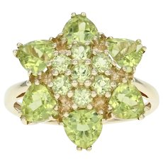 Peridot Flower Blossom Ring -10k Gold Cluster Round & Trillion Brilliant 3.50ctw