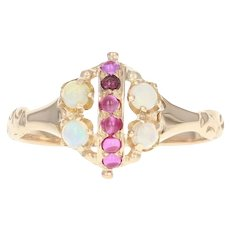 Victorian Ruby, Syn. Ruby, & Opal Ring - 10k Yellow Gold Antique Size 5 3/4