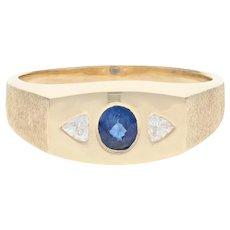 Men's Sapphire & Diamond Ring - 14k Yellow Gold Oval Brilliant .57ctw