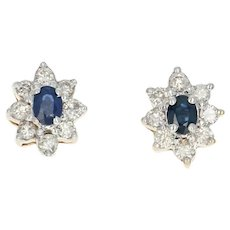 Sapphire & Diamond Halo Stud Earrings - 14k Gold Pierced Oval Brilliant 1.10ctw