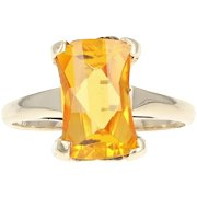 Vintage Synthetic Sapphire Solitaire Ring - 10k Yellow Gold Women's Size 7