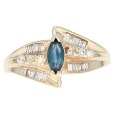 Sapphire & Diamond Bypass Ring - 14k Yellow Gold Marquise Brilliant .77ctw