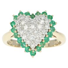 Diamond & Emerald Heart Halo Ring - 14k Yellow Gold Cluster Single Cut 1.22ctw