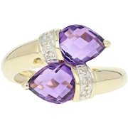 Amethyst & Diamond Bypass Ring - 14k Yellow Gold Pear Briolettes Size 7