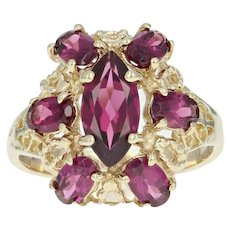Garnet Cluster Ring - 10k Yellow Gold Marquise Brilliant 2.35ctw