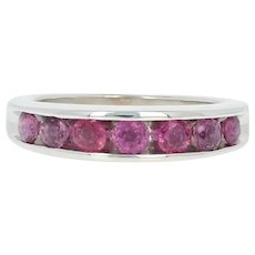 Ruby Band Ring - 14k White Gold Size 6 Round Brilliant 1.05ctw
