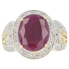 Ruby & Diamond Halo Ring - 14k Yellow Gold Oval Brilliant 5.36ctw