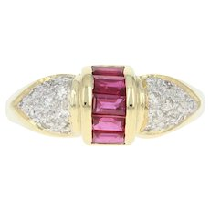 Ruby & Diamond Ring - 18k Yellow Gold Size 7 1/4 Baguette .67ctw