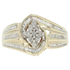 Diamond Cluster Bypass Ring - 10k Yellow Gold Single Cut .39ctw