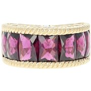 Rhodolite Garnet & Diamond Dome Ring - 14k Gold Rectangular Princess 8.10ctw