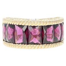 Rhodolite Garnet & Diamond Dome Ring - 14k Gold Rectangular Princess 8.10ctw