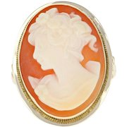 Vintage Carved Shell Cameo Ring - 14k Yellow Gold Women's Silhouette Size 5