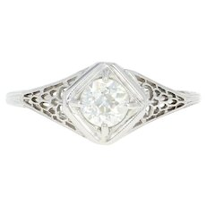 Art Deco Diamond Engagement Ring - 18k White Gold Vintage GIA European .58ct