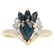 Sapphire & Diamond Ring - 14k Yellow Gold Pear Brilliant 1.17ctw