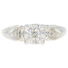 Vintage Diamond Engagement Ring - 14k Gold Round Brilliant Solitaire Milgrain