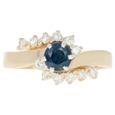 Sapphire & Diamond Bypass Ring - 14k Yellow Gold Round Brilliant .68ctw