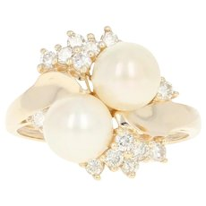 Cultured Pearl & Diamond Bypass Ring - 14k Yellow Gold Round Brilliant .40ctw