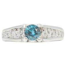 Blue Diamond Engagement Ring & Wedding Band Set -14k Gold Round Brilliant .89ctw