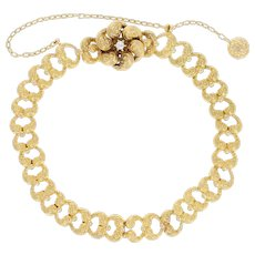 "Victorian Link Bracelet 7 1/2"" - 14k Gold Antique Diamond-Accented Flower"
