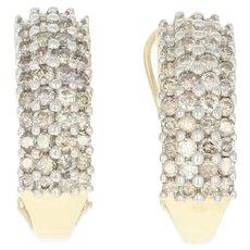 Diamond J-Hoop Earrings -10k & 14k Yellow Gold Cluster Pierced Round Cut 1.50ctw