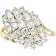 Diamond Waterfall Ring - 14k Yellow Gold Cluster Bypass Round Cut 2.00ctw