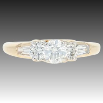 Diamond Engagement Ring - 14k Yellow Gold Size 6 1/4 Round Cut 1.11ctw