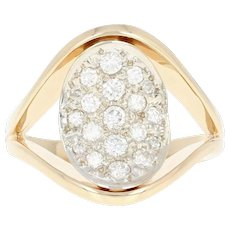 Diamond Cluster Ring - 14k Yellow Gold Round Brilliant .46ctw