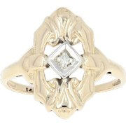 Diamond-Accented Vintage Ring - 14k Yellow Gold Women's Size 6 3/4