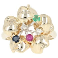 Multi-Gemstone Flower Ring - 14k Gold Ruby Sapphire Emerald Diamond .30ctw