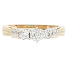 Diamond Engagement Ring & Wedding Band Set - 14k Gold 8 1/2 Round Cut 1.09ctw