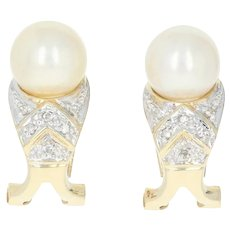 Cultured Pearl J-Hoop Earrings - 14k Yellow Gold Diamond Accents Pierced