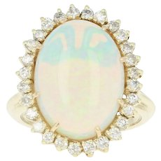 Opal & Diamond Halo Cocktail Ring - 14k Yellow Gold Cabochon 8.66ctw