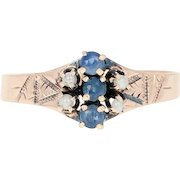 Victorian Sapphire & Imitation Pearl Ring - 10k Rose Gold Antique .20ctw