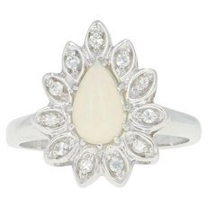 Opal & Diamond Halo Ring - 14k White Gold Pear Cabochon Size 6 3/4