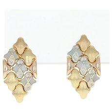 Vintage Italian Dangle Earrings - 18k Gold Tri-Tone Brushed Pierced