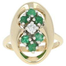 Emerald & Diamond Ring - 10k Yellow Gold Round Cut .64ctw