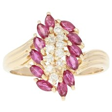 Ruby & Diamond Waterfall Ring - 14k Yellow Gold Cluster Bypass 1.69ctw