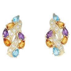 Multi-Gemstone J-Hoop Earrings - 14k Gold Citrine Topaz Pierced Pear 3.05ctw