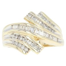 Diamond Bypass Ring - 10k Yellow Gold Size 7 Baguette .54ctw