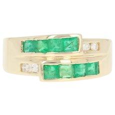 Emerald & Diamond Ring - 14k Yellow Gold Bypass Step Cut Square .60ctw