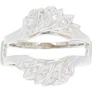 Diamond Enhancer Wedding Band - 14k White Gold Wrap Ring Single Cut .15ctw