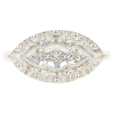 Vintage Diamond-Accented Ring - 10k Yellow & White Milgrain Gold Size 4 3/4