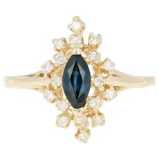 Sapphire & Diamond Halo Ring - 14k Yellow Gold Marquise .69ctw