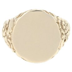 Engravable Antique Signet Ring - 14k Yellow Gold Men's Size 10 3/4 - 11