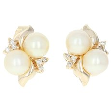 Cultured Pearl & Diamond Stud Earrings - 14k Yellow Gold Pierced