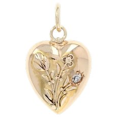Victorian Floral Heart Pendant - 15k Yellow Gold Antique Diamond Accent