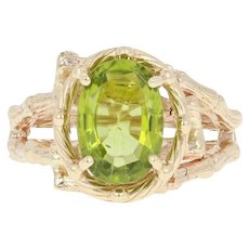 Peridot Bamboo Ring - 14k Yellow Gold Bypass Oval Solitaire 3.20ct