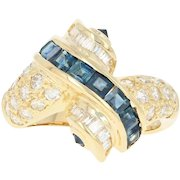 Sapphire & Diamond Bypass Ring - 18k Yellow Gold 2.07ctw